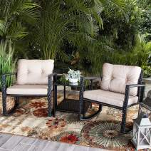 Barton Patio Rocking Chair 3pcs Set Patio Wicker Rattan Bistro Furniture Outdoor Rocker Chair Cushion w/Glass Coffee Table Set