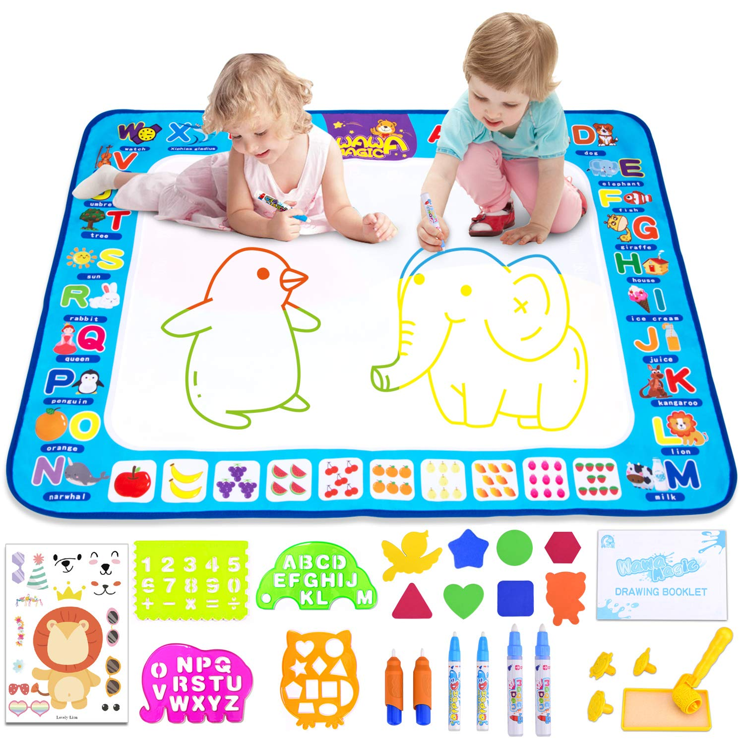 Morfone Aqua Magic Mat, Doodle Drawing Board Kids Water Painting Mat 40 X 29 Inch Educational Toys for Age 3 4 5 6 7 8 Girls Boys Toddlers ( Bonus Make-a-face Sticker Sheets )