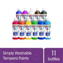 Colorations Simply Washable Tempera Paints, 16 fl oz, Set of 11 Colors, Non Toxic, Vibrant, Bold, Kids Paint, Craft, Hobby, Arts & Crafts, Fun, Art Supplies