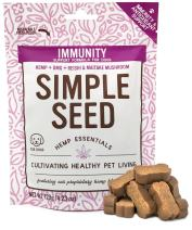 Hemp Allergy Immune Supplement for Dogs with Reishi Mushroom, Maitake Mushroom, Hemp Oil, and DMG by Simple Seed, 30 Soft Chews