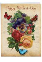 The Best Card Company - Jumbo Flower Mothers Day Card (8.5 x 11 Inch) - Womens Floral Greeting Card for Mom - Fluttering Words J6477IMDG