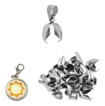 Mandala Crafts Stainless Steel Pinch Bail, Pendant Connector, Dangle Charm Clasp Clip for Jewelry Making; 40 PCs Finding Kit (5 X 13 mm, Silver Tone)