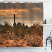 """Ambesonne Saguaro Shower Curtain, Dramatic Shady Desert View with a Storm Cloud Approaching Western Arizona Photo, Cloth Fabric Bathroom Decor Set with Hooks, 75"""" Long, Orange Green"""