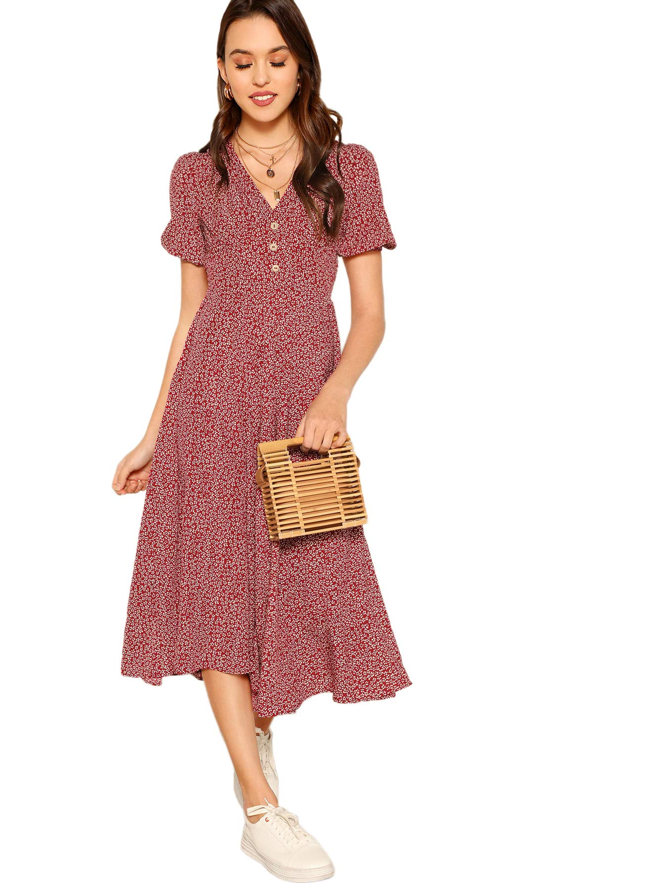 Floerns Women's Button Front Allover Floral Print V-Neck Midi Dress Red M