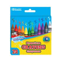 BAZIC 24 Color Washable Premium Crayons, Assorted Coloring Set, School Art Creative Gift for Kids Age 3+