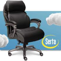 Serta Big and Tall Executive Office Chair with AIR Technology and Smart Layers Premium Elite Foam, Supports up to 400 Pounds, Bonded Leather, Black