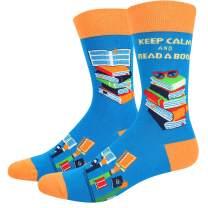 HAPPYPOP Men's Math Book Nerd Chemistry Art Socks, Novelty Funny School Design