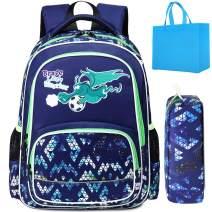 Boys School Backpacks Kids Preschool Backpack Dinosaur Backpack Kids Bookbag Schoolbag for Boys Elementray Kindergarden Lightweight Daypack (Navy with Pencil Case)