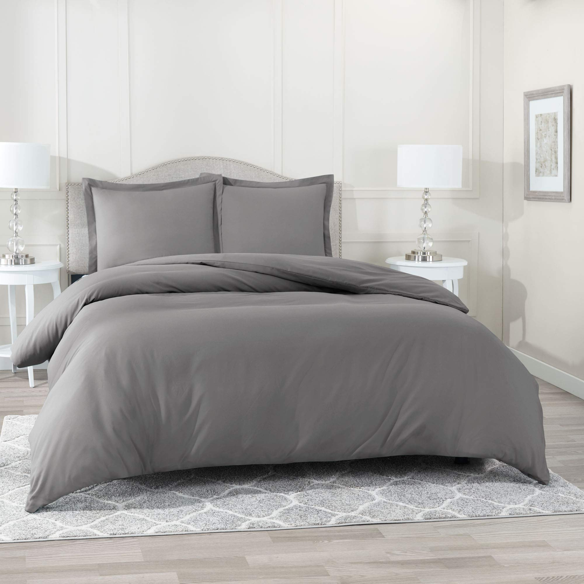 Nestl Bedding Duvet Cover, Protects and Covers your Comforter/Duvet Insert, Luxury 100% Super Soft Microfiber, Twin (Single) Size, Color Charcoal Gray, 2 Piece Duvet Cover Set Includes 1 Pillow Sham