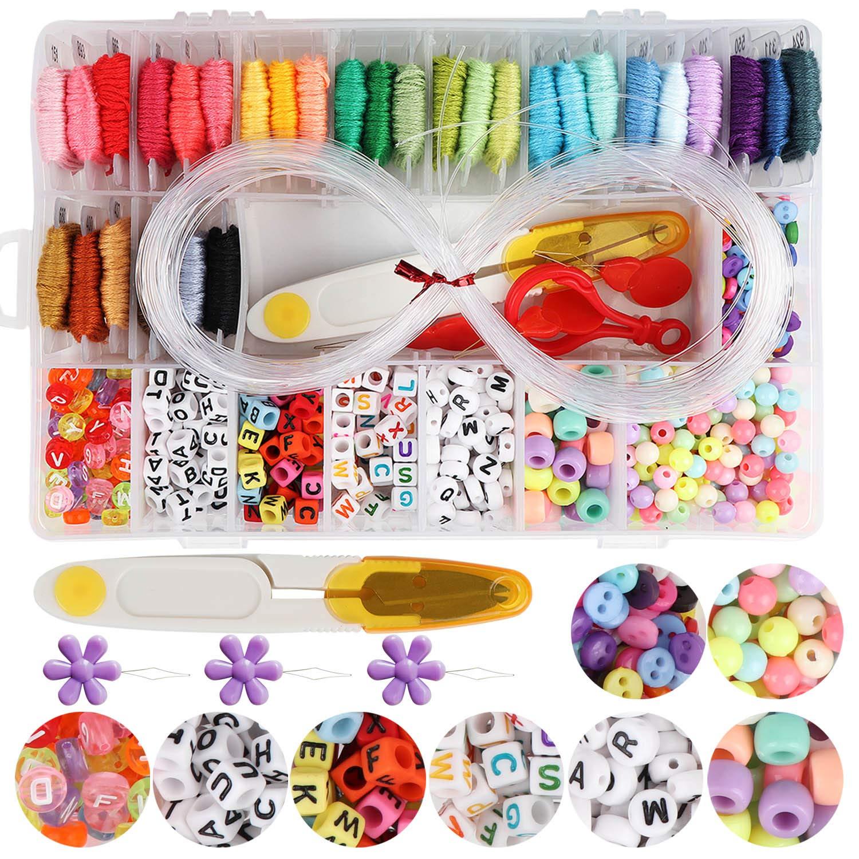 "Handcrafted DIY Bracelet Making Beads Kit,Hand-Make Necklaces Letter Beads Colorful,WEEFUN 30 Multi-Color Embroidery Floss""A-Z"" Alphabet Beads Bracelets String Kit for Friendship Bracelets"