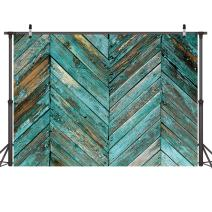 LYWYGG 7X5FT Wooden Photography Backdrops Old Green Skew Wood Floor Backdrop Newborn Photo Background for Photo Booth Studio Props CP-20