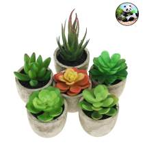 Anseal 6 Pots Artificial Succulents Set, Mini Assorted Decorative Faux Succulent Potted Fake Plants with Plastic Pots Home, Bathroom, Office Decoration, with Gift