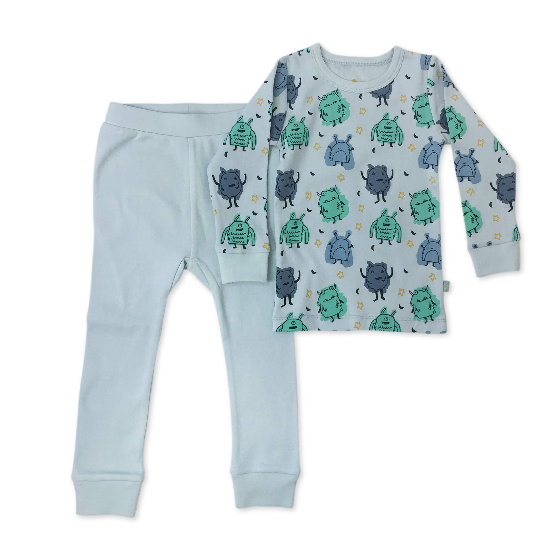 Finn + Emma Organic Cotton Toddler Pajama Sleep Set – Monsters, 4T