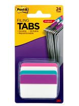 Post-it Tabs, 2 in. Angled Solid, Assorted Colors, Durable, Writable, Repositionable, Sticks Securely, Removes Cleanly, 6 Tabs/Color, 4 Colors, 24 Tabs/Pack, (686A-PWAV)