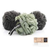 Large 70g Shower Pouf, Loofah Sponge, Body Scrubber, Luxury Shower Sponge for Women, Men | Mesh Shower Puff - Activated Charcoal, Gentle Exfoliation and Lots of Lather for Bath and Shower, 3 Pack
