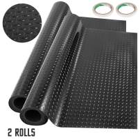 Happybuy Garage Floor Mats 2 Rolls 17 x 3.6 Ft Garage Mat 2.5mm Thickness Black Garage Flooring PVC Garage Mats for Under Car
