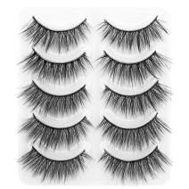 DYSILK 5 Pairs 6D Faux Mink Eyelashes Fluffy Volume Natural Look False Eyelashes Soft Handmade Wispy Reusable Fake Eyelashes Long Extension Makeup Eyelashes