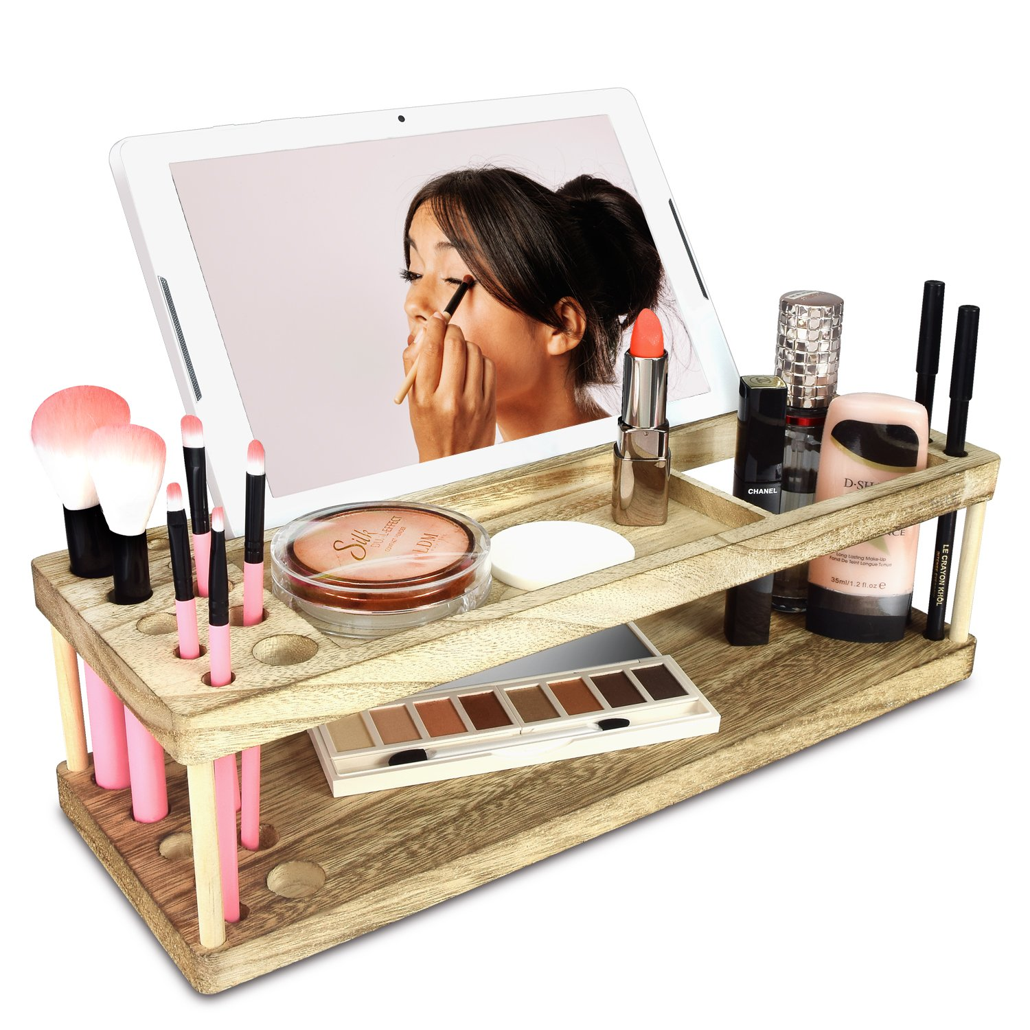 Ikee Design Wooden Makeup Storage Organizer with Pen Holder and Mobile Phone Holder