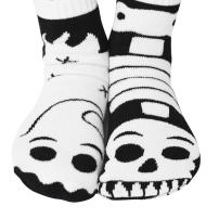 Pals Socks Halloween Ghost and Skeleton Kids Glow-in-the-Dark Mismatched Friends Socks with No Slip Beads