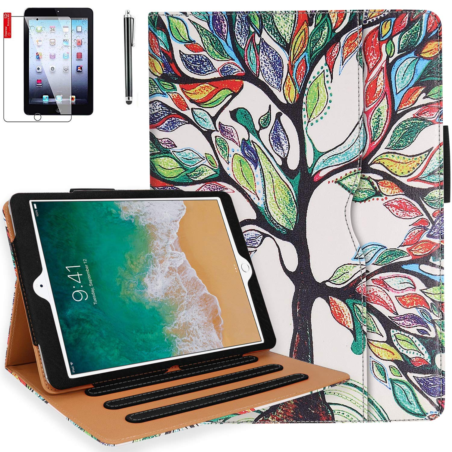 iPad 6th Generation Cases, iPad Air 2 Case, iPad Air Case with Pencil Holder, Screen Protector and Stylus - iPad 9.7 inch 2018 2017 Case - Hand Strap, Auto Sleep Wake, Multi-Angle Stand(Love Tree)