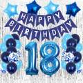 18 Birthday Decorations, Blue 18th Birthday Decorations Boys Girls Party Supplies, Happy 18th Birthday Balloons with Foil Fringe Curtains for Men Woman Birthday Party (18th)