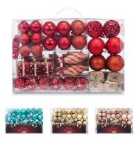 AMS 72ct Christmas Ball Assorted Pendant Shatterproof Ball Ornament Set Seasonal Decorations with Reusable Hand-Help Gift Boxes Ideal for Xmas, Holiday and Party (72ct, Red)