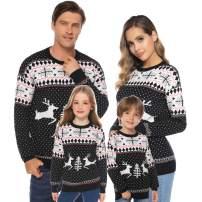 Abollria Family Matching Patterns Reindeer Snowman Tree Snowflakes Christmas Sweater Cardigan (Dad,Mom,Kids) Black,Women-Medium
