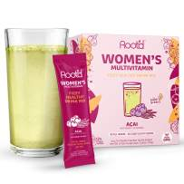Rootd - Powder Multivitamin for Women - with 25 Vitamins & Minerals | Vitamin A, C, D, E, B12, B6, K, Iron, Probiotics, Electrolytes, Organic Super Greens | Natural Acai | 24 Effervescent Stick Packs