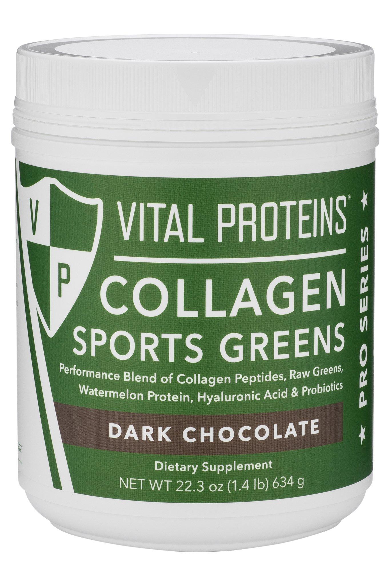 Vital Proteins Collagen Sports Greens - Dark Chocolate, Dairy Free Protein Powder, Watermelon Seed Protein