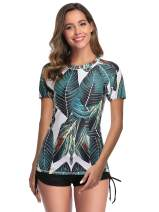 Caracilia Women's Short Sleeve Rashguard Swimwear UPF 50+ Rash Guard Floral Print 2 Piece Swimsuit Sets