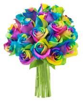 KaBloom Bouquet of 18 Fresh Rainbow Roses (Farm-Fresh, Long-Stem)