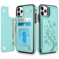 HianDier Wallet Case for iPhone 11 Pro Slim Protective Case with Credit Card Slot Holder Flip Folio Soft PU Leather Magnetic Closure Cover for 2019 iPhone 11 Pro, Green