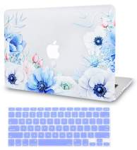 LuvCase 2 in 1 Laptop Case for MacBook Air 13 Inch A1466/A1369 (No Touch ID)(2010-2017) Rubberized Plastic Hard Shell Cover & Keyboard Cover (Blue and White Poppy)