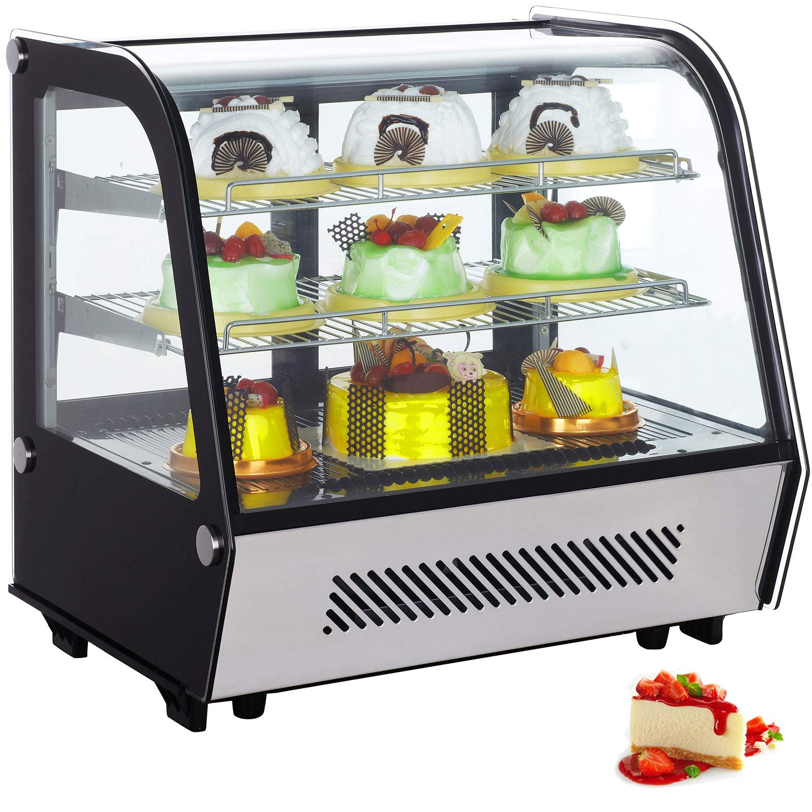 VBENLEM 4.25 cu.ft. Commercial Countertop Refrigerator Silver 120L Stainless Steel Bakery Dairy Display Cooler Case with Automatic Defrost LED Lighting Suit for Cake Roaster Shop Cafe Use