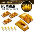 Partsam 5PCS 264160AM Amber Cover Lens Cab Marker Roof Top Crystal Chrome Lights+5PCS T10 194 168 W5W Yellow LED Bulbs Compatible with Hummer H2 SUV SUT 2003 2004 2005 2006 2007 2008 2009 Waterproof
