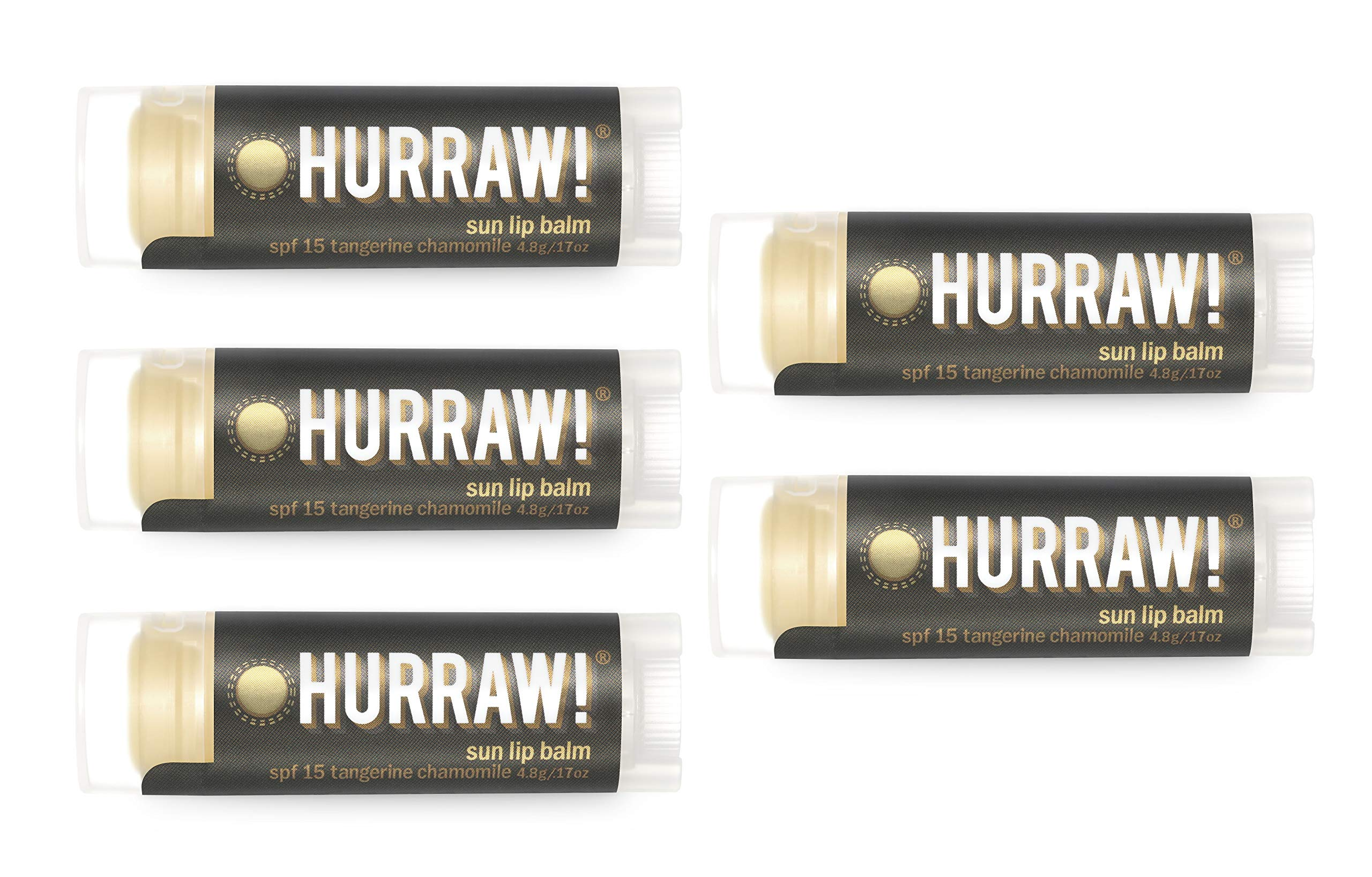 Hurraw Sun Protection (SPF 15, Tangerine, Chamomile) Lip Balm, 5 Pack – Organic, Certified Vegan, Cruelty and Gluten Free. Non-GMO, 100% Natural Ingredients. Bee, Shea, Soy and Palm Free. Made in USA