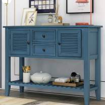 Rrtro Style Console Tables Buffet Table with Two Storage Drawers and Bottom Shelf Sideboard Console Table for Kitchen Room, Entryway, Hallway