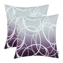 CaliTime Pack of 2 Soft Canvas Throw Pillow Covers Cases for Couch Sofa Home Decor Modern Gradient Ombre Circles Rings Both Sides 16 X 16 Inches Gray to Deep Purple
