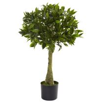 Nearly Natural 5382 Bay Leaf Topiary UV Resistant Tree, 3-Feet, Green
