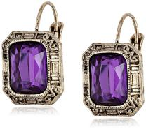 """1928 Jewelry """"Deep Siberian"""" Square Faceted Drop Earrings"""