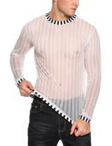 COOFANDY Men's Sexy See Through Shirts Clubwear Mesh Long Sleeve T-Shirt Tops