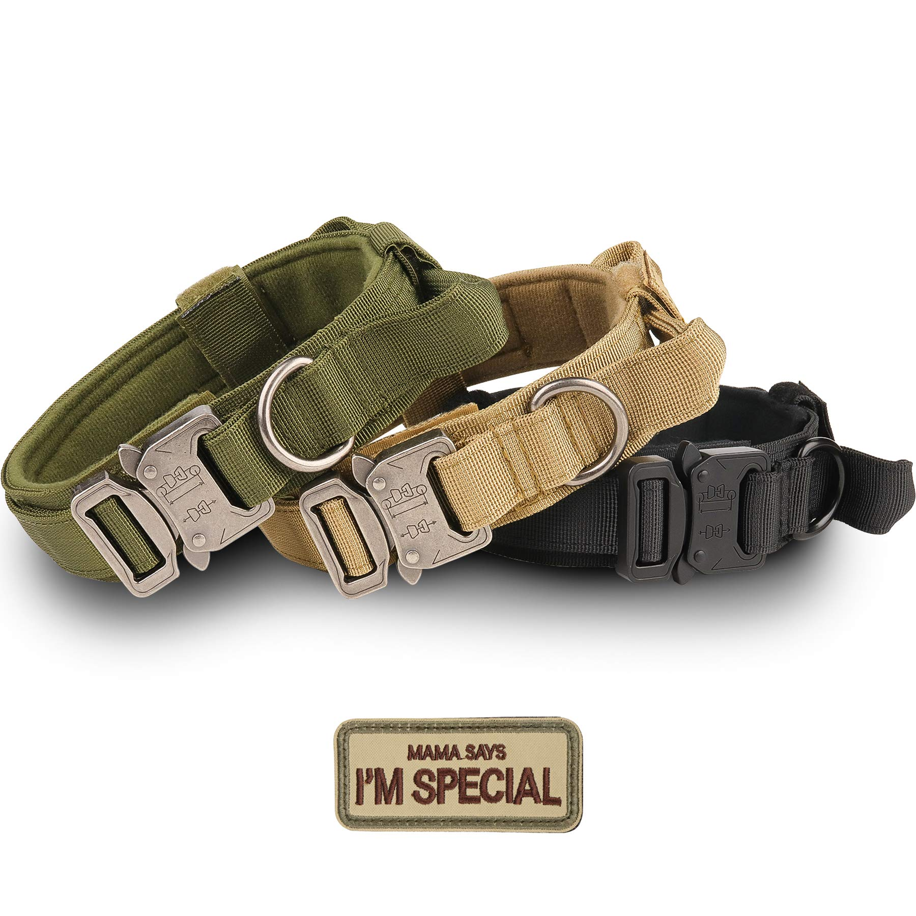 Tactical Dog Collar - KCUCOP Military Dog Collar with Mama Says I m Special Patch Thick with Handle K9 Collar Tactipup Dog Collars Adjustable Heavy Duty Metal Buckle for M,L,XL Dogs(Brown,M)