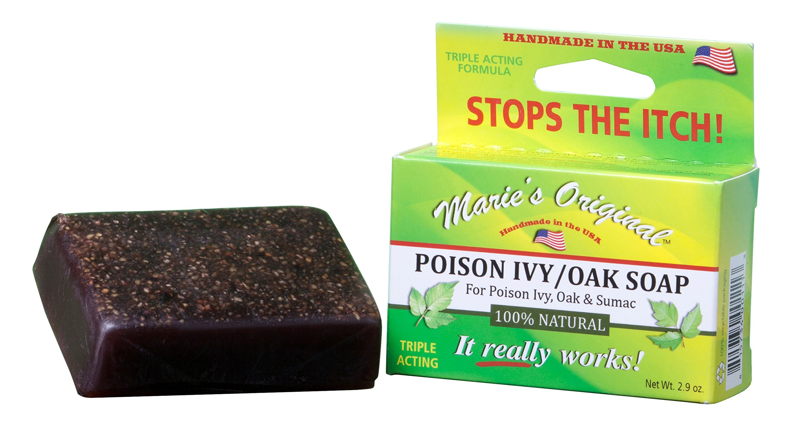 Marie's Original Poison Ivy Soap Bar – 100% All Natural Triple Acting Formula – Anti Itch Treatment for Poison Ivy, Poison Oak and Sumac – Removes Oils, Soothes and Relives Rashes - 2.9oz