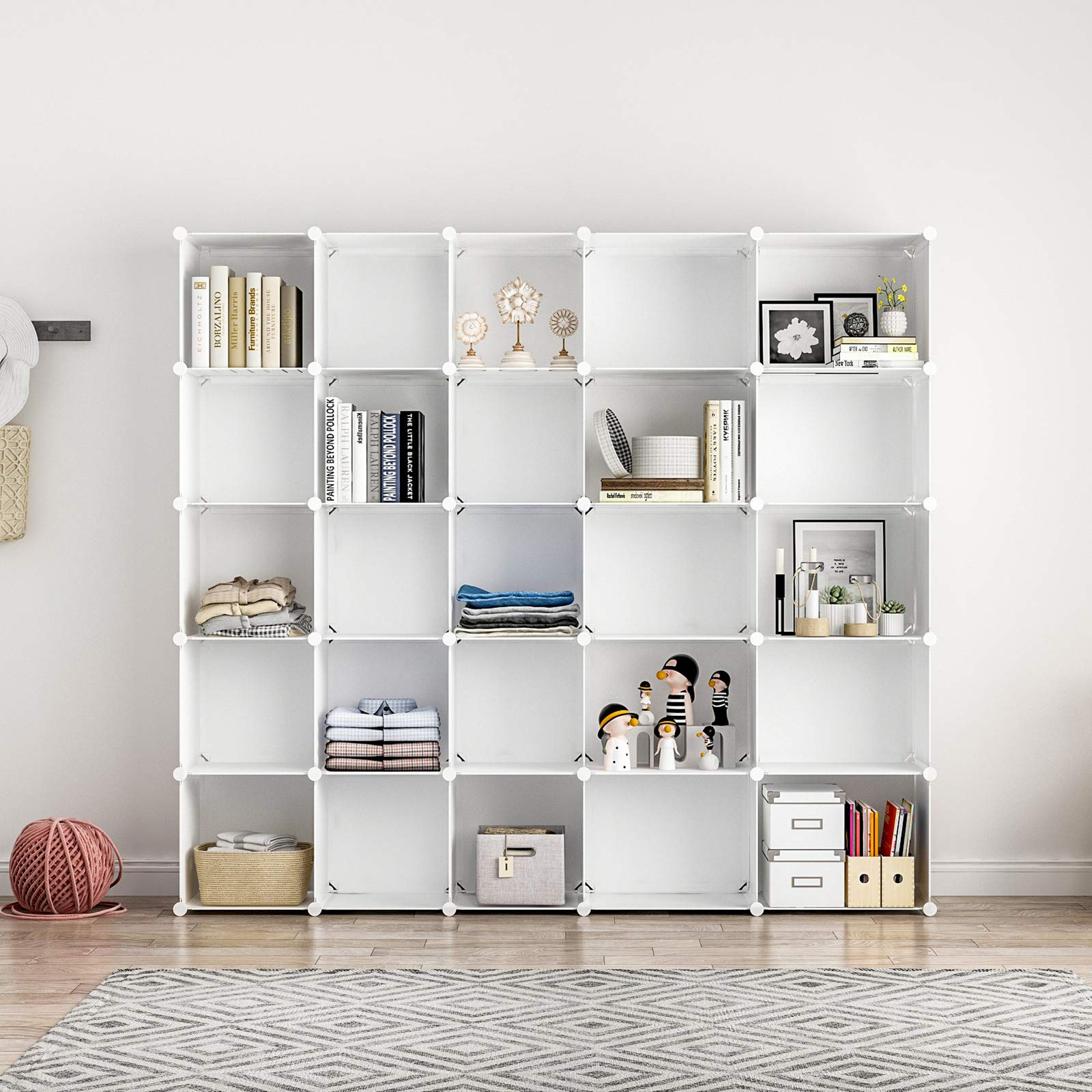Aeitc 25 Cube Storage Organizer Closet Shelves Storage Cubes DIY Cubby Organizing Modular Cabinet Bookcase Cubby Closet Shelf for Bedroom, Living Room, White