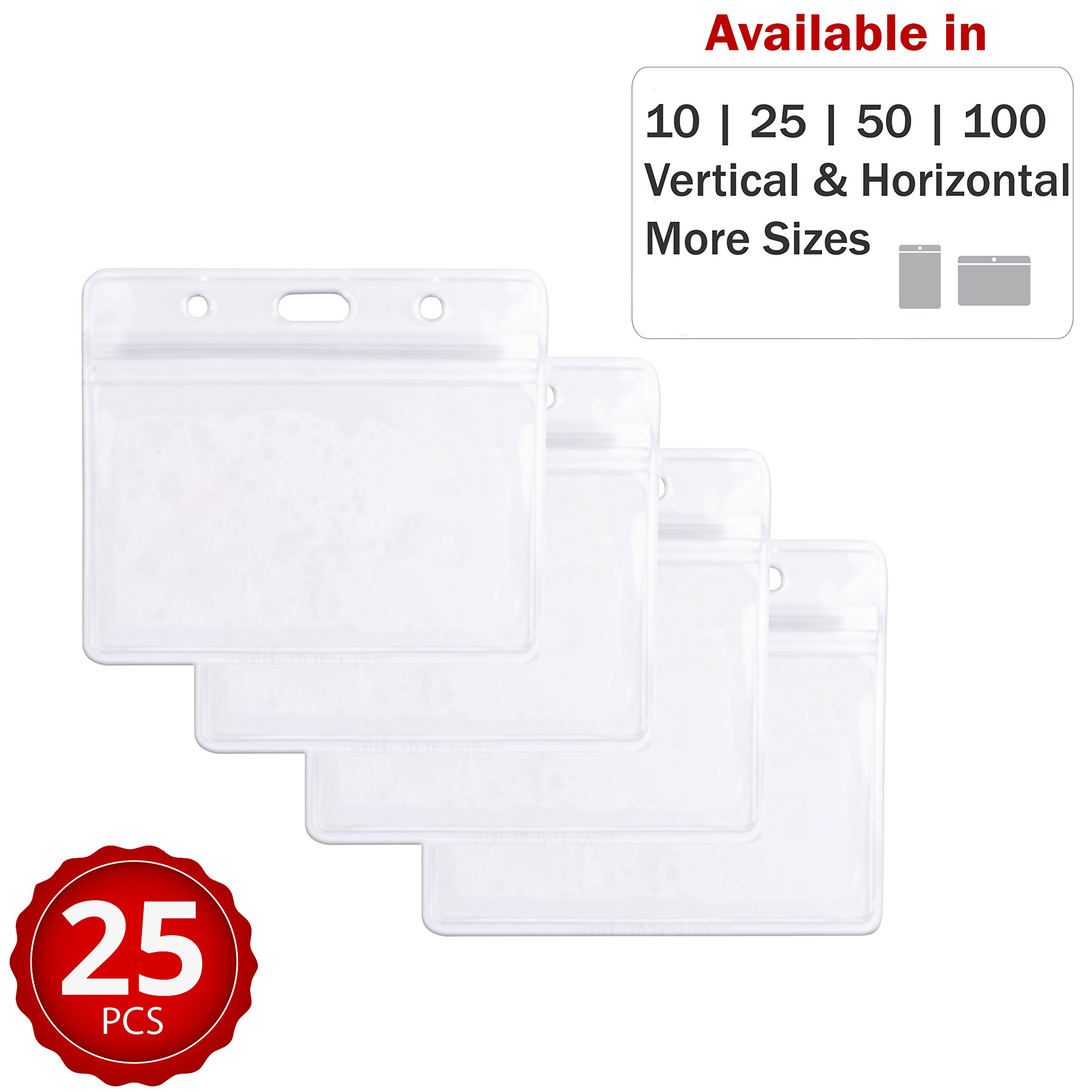 Durable & Heavy-Duty ID Badge Holders ~ Premium Quality, Clear Plastic, Waterproof & Dustproof ~ for ID Cards, Moms, Teachers, Tours, Events, Cruises & More (25 Pack, Horizontal) by Stationery King