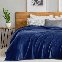 "SEDONA HOUSE Flannel Fleece Blanket 280GSM Luxury Microfiber Flannel Super Soft Warm Fuzzy Cozy Lightweight Blanket for Bed Couch or Car Color Navy Blue Size King 90""x108"""