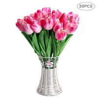 CCINEE 30pcs Real Touch Tulips Double Pink PU Tulips Artificial Flowers for Wedding Home Centerpiece Decoration