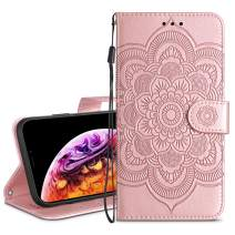 HianDier Wallet Case for iPhone Xs MAX Card Holder Case Kickstand Flip Cover Embossed Mandala Flower Lanyard Protective Soft PU Leather Cover Case for iPhone Xs Max, Rose Gold