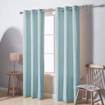 Deconovo Decorative Velvet Luxury Thermal Insulated Curtains Super Soft Window Curtain Grommet Top Light Blocking Draperies for Baby Room 42W x 95L Inch Sky Blue 2 Panels