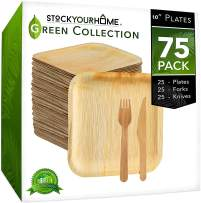 Eco Dinnerware Bamboo Like Palm Leaf Plates with Wooden Cutlery, 25 Square 10 Inch Plates with 25 Forks and 25 Knives, 75 Pieces